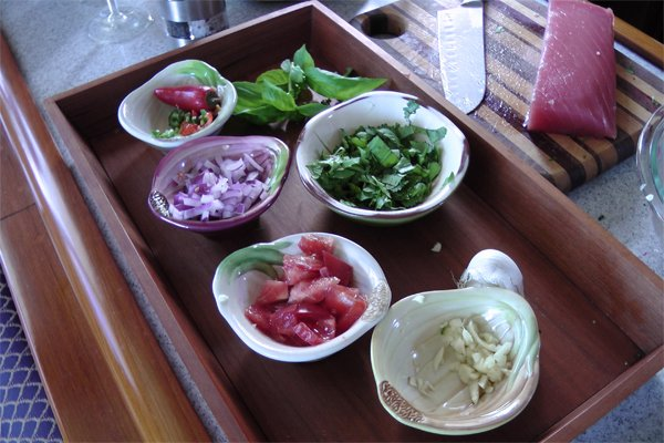 Photo of the ingredients for tuna ceviche