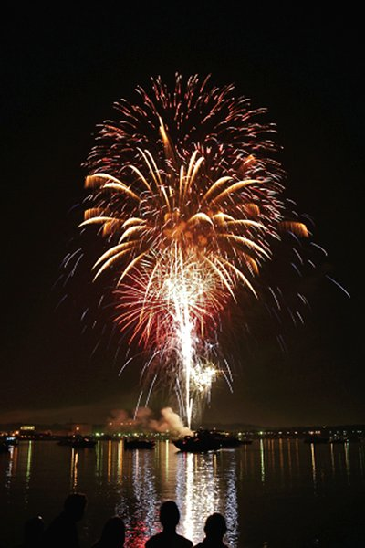 Photo of a fireworks display on the water