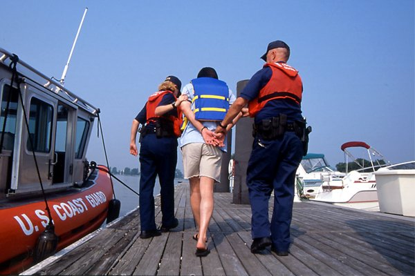 Photo of a boating being arrested for DUI