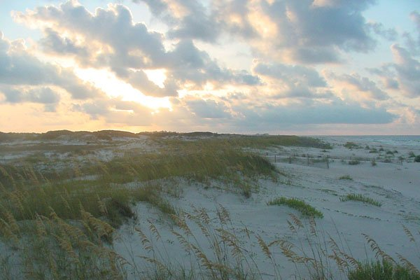 Photo of sunset over the dunes