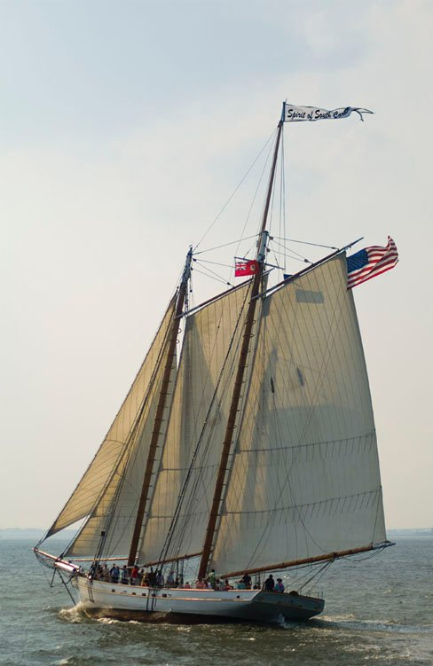 Photo of the 140-foot schooner, Victory Chimes