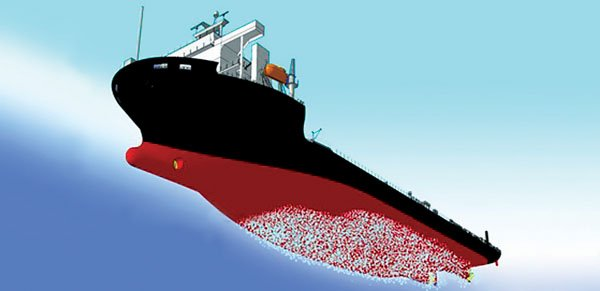 Illustration of Bubbles generated by supplying air to the vessels bottom