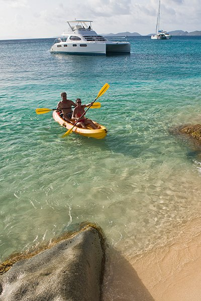Photo of a couple kayaking in the Caribbean