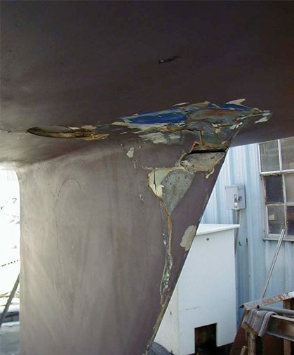 Photo of the keel after the lightning strike