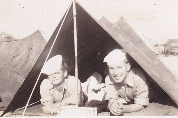 Vintage photo of Sea Scouts in a tent