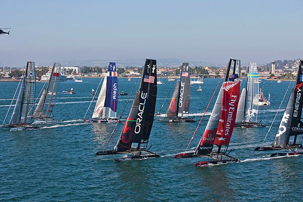 Photo of high-tech fleet of America's Cup boats