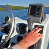 Fishfinder mounted to helm