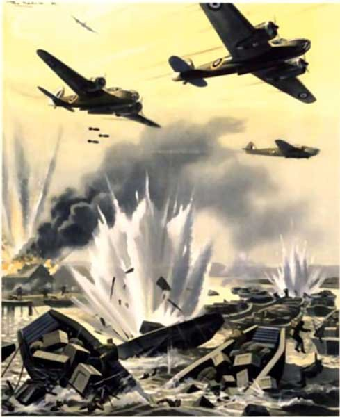 Illustration of WWII bombers