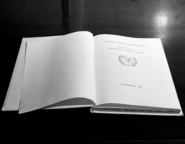 Photo of title page of the United Nations Charter in English