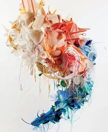 Photo of sculpture created from plastic debris