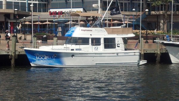 Photo of a 34 Swift Trawler that Beneteau is sending around the Great Loop