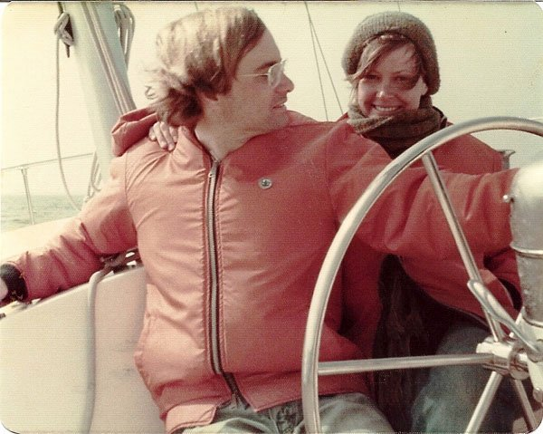 Photo of Mel and Tom heading down the Chesapeake Bay on a winter day on their Gulfstar 41