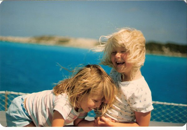 Photo of daughters Carolyn (left) and Melanie on the third Chez Nous in the Bahamas