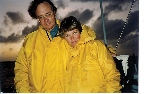 Photo of Mel and Tom on their 25th anniversary on a stormy day in the Bahamas
