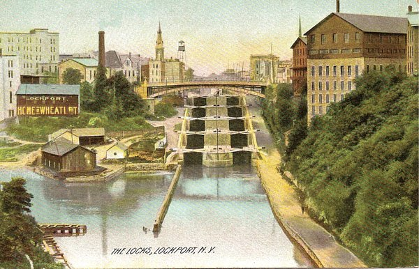 The locks at Lockport, New York, shown in a 1905 postcard