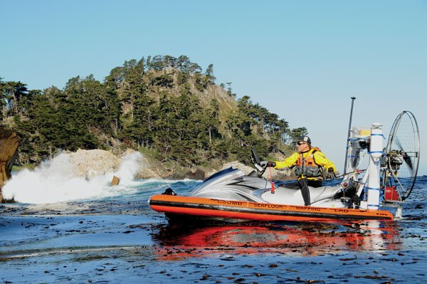 Photo of Yamaha WaveRunner mounted on a custom-built aluminum rigid inflatable hull