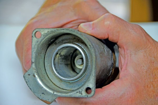 Phot of inside the starter solenoid coil casing after the shaft has been removed