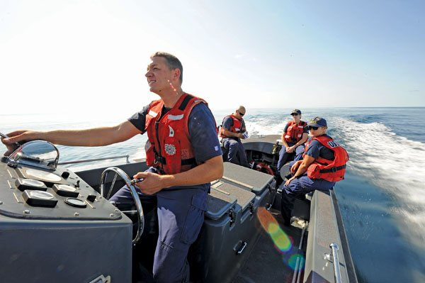 Photo of the U.S. Coast Guard on a rescue mission