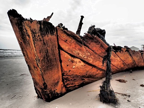 Photo of unearthed this shipwreck on the Alabama Gulf Coast