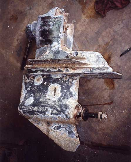 Photo of corrosion damage to the outdrive