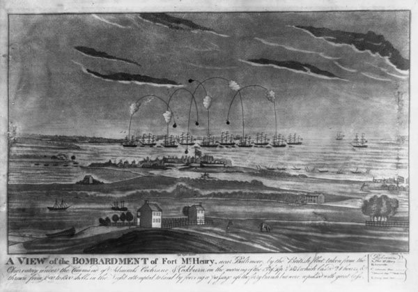Print of bombardment of Fort McHenry
