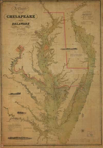 Chart of Chesapeake and Delaware Bays from 1840