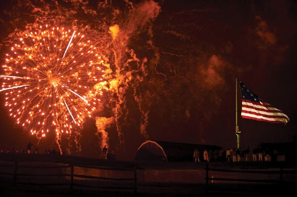 Photo of the rockets' red glare over Fort McHenry in Baltimore Harbor