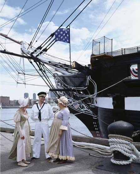 Photo of USS Constitution docked at Charlestown Navy Yard