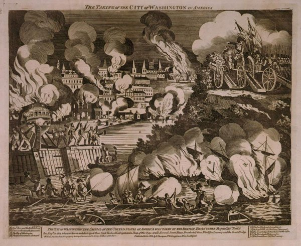 Engraving of Washington DC burning