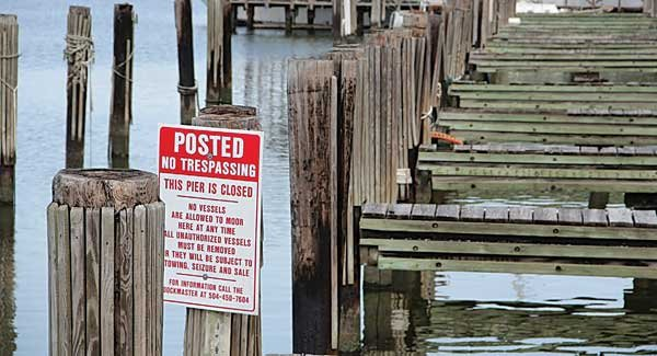 Photo of dock still closed after Hurricane Katrina