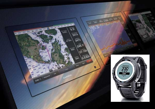Photo of the Garmin GPSMAP Touch-Screen and Quatrix Marine Watch