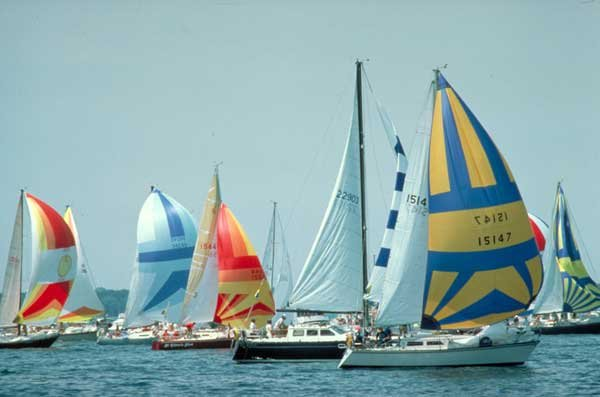 Photo of colorful sialboats in Lake Michigan