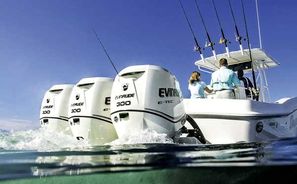 Photo of the Evinrude's E-Tec line of direct-injected two strokes engines