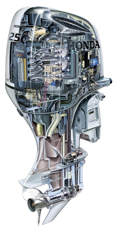 A cutaway illustration of Honda's BF250