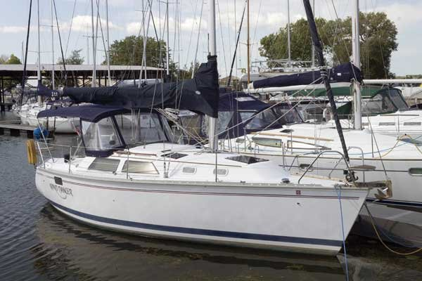 Photo of the Wind Dancer safely in her slip in Sackets Harbor, NY