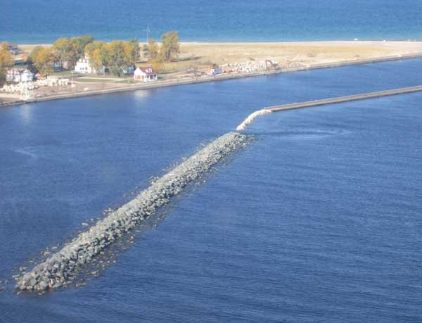 Photo of the Grand Marais breakwall is finally completed