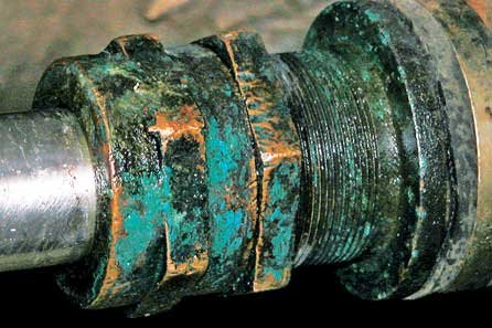Photo of cracking, rusted and pitted of the shaft