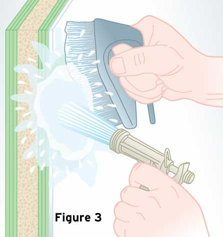 Illustration of scrubing the surface clean