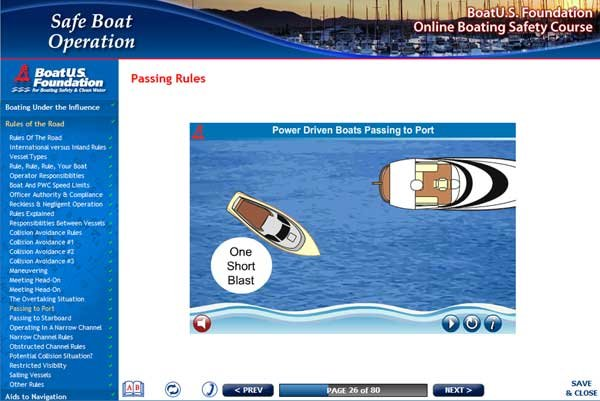 Screenshot of BoatUS Foundation Online Safety Course
