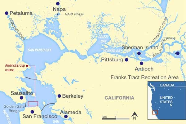 Map of California with America's Cup course highlighted