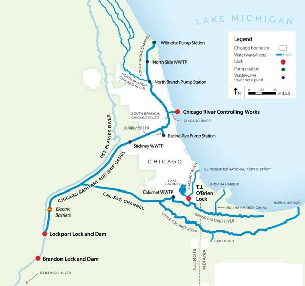 Map of the Chicago Area Waterways