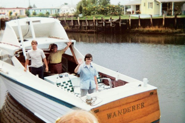 Photo of the author with his dad and sister, setting out from Ship Bottom, New Jersey