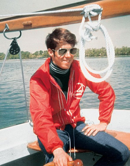 Photo of the author in college sailing attire from the 1970s