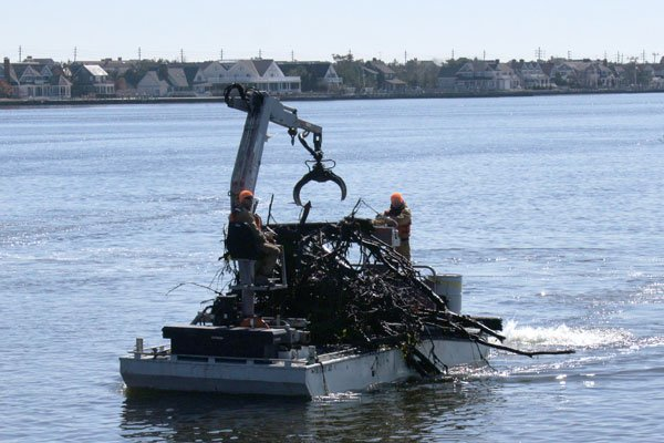Photo of debris removal off the New Jersey coastline