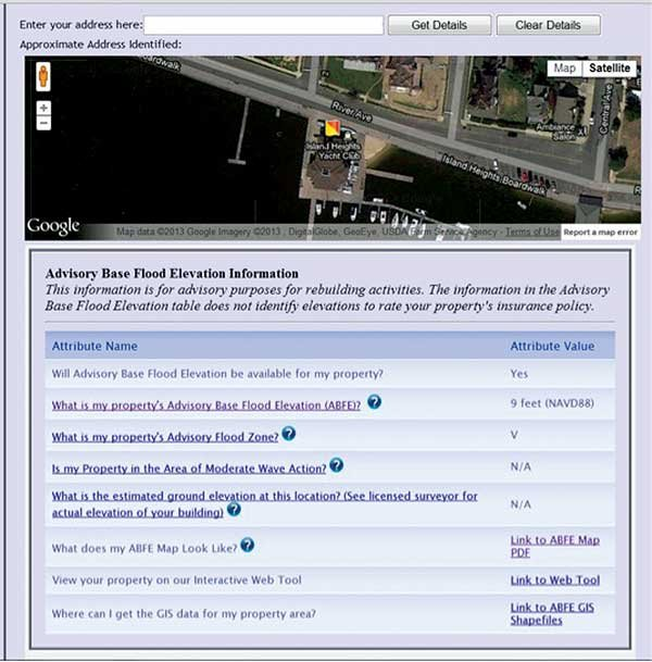 Screenshot of FEMA Advisory Base Flood Elevation (ABFE) Tool