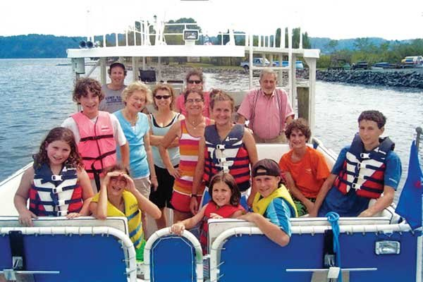 Photo of the Schwartz family on their boat