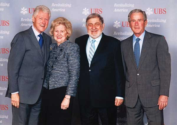 Photo of Richard and his wife, Beth Newburger, with U.S. Presidents Bill Clinton and George W. Bush