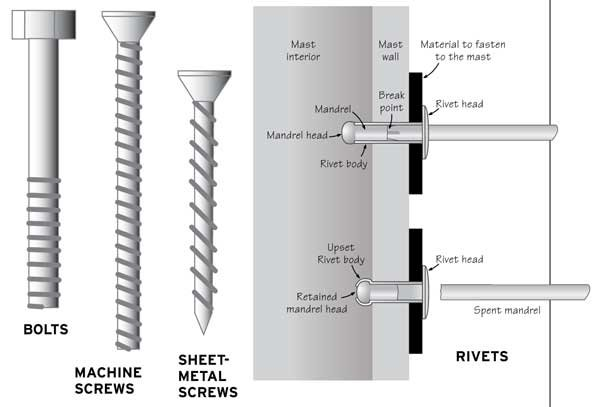 Illustration of various types of screws and rivets