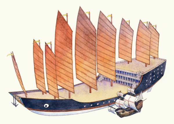 Illustration of one of Zheng He's treasure junks
