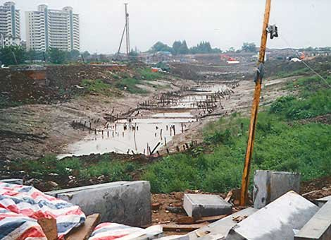 Photo of remains of the early 15th century Longjiang shipyard in Nanjing, China